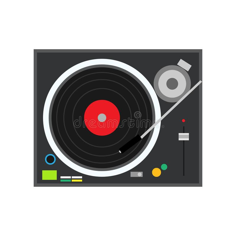 Turntable play technology stereo musical DJ electronic vinyl record vector. Mixing club party techno plate sound jockey.  royalty free illustration
