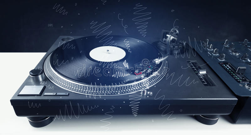 Turntable playing music with hand drawn cross lines. Concept on background royalty free stock images