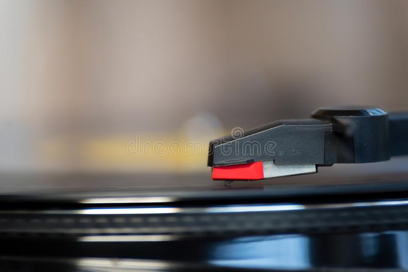 Turntable playing a vinyl. Close up Turntable playing a vinyl record stock photography