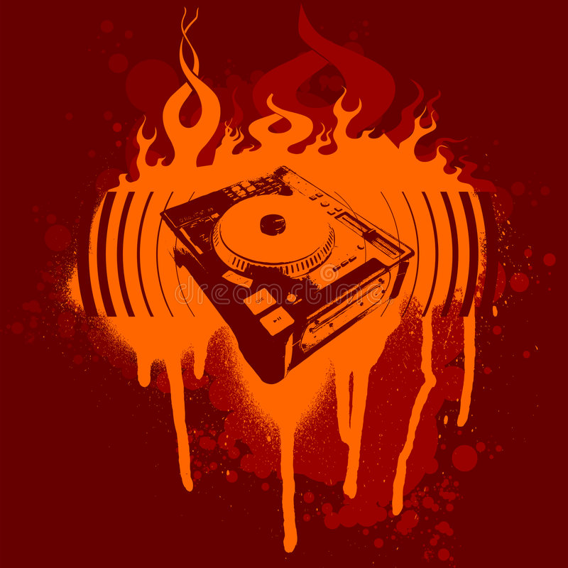 Free Turntable Red Graffiti. Royalty Free Stock Image - 2473556