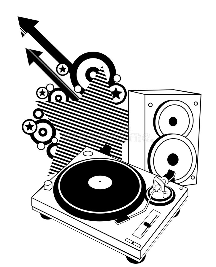 Turntable and speaker vector illustration