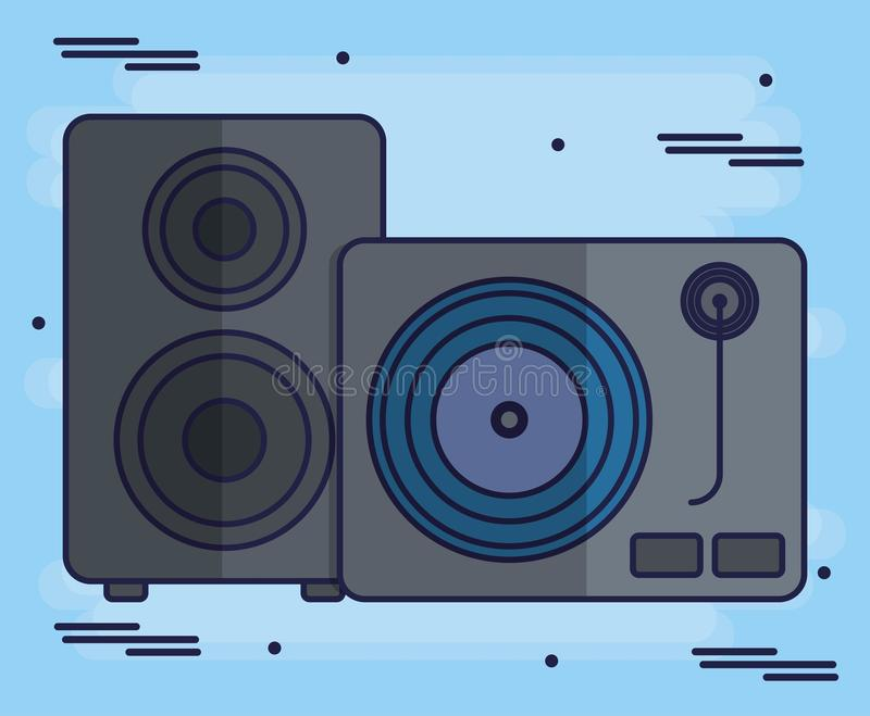 Turntable and speaker icon vector illustration