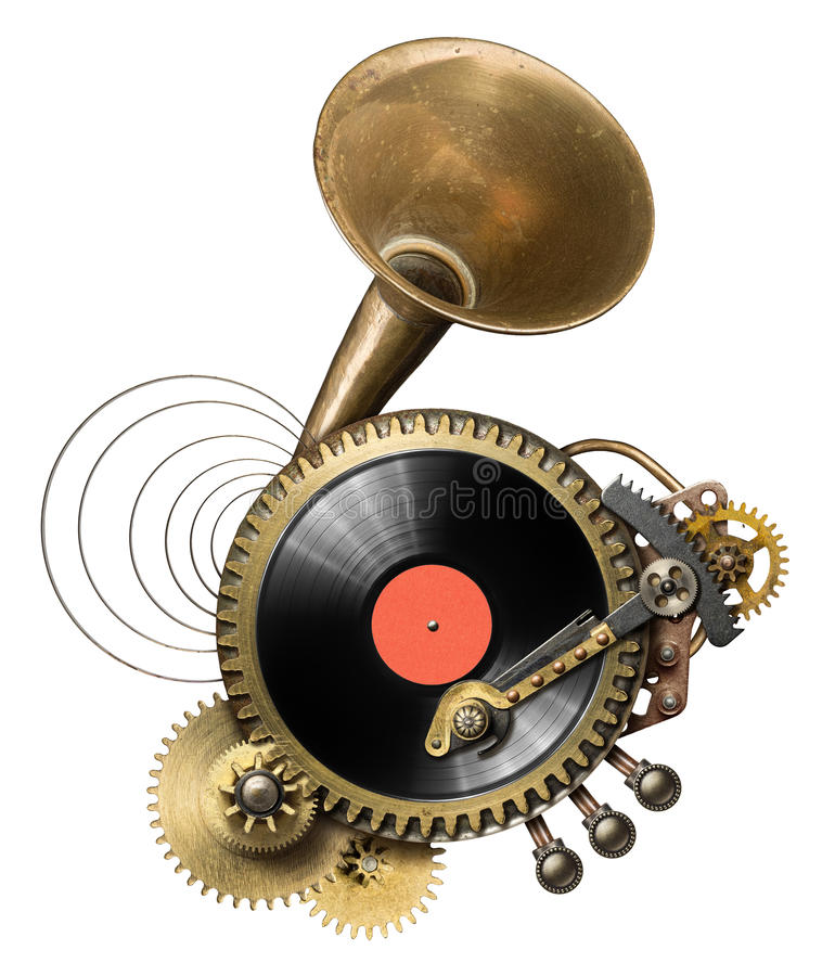 Turntable. Stylized steampunk metal collage of vinyl record turntable stock images