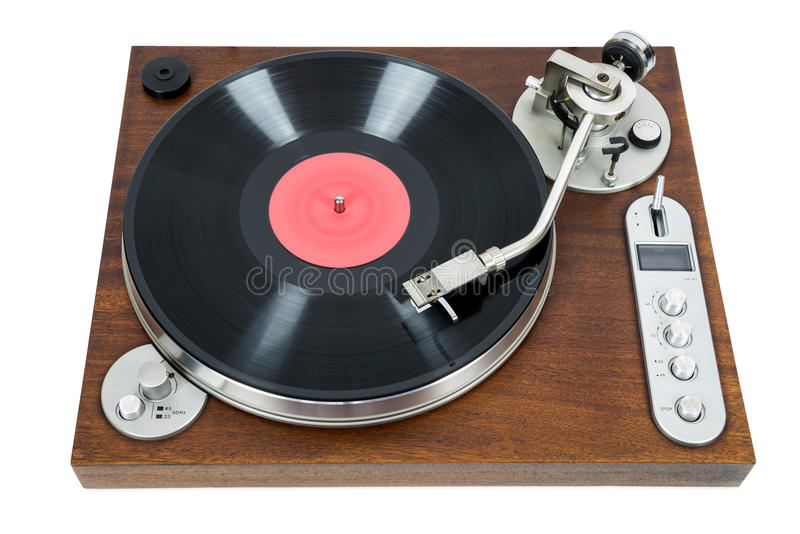 Turntable with vinyl record on white background royalty free stock photography