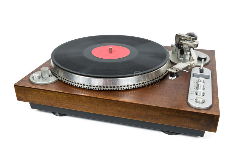 Turntable with vinyl record on white background royalty free stock photo