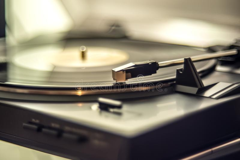 Turntable and vinyl. retro music playing stock photos