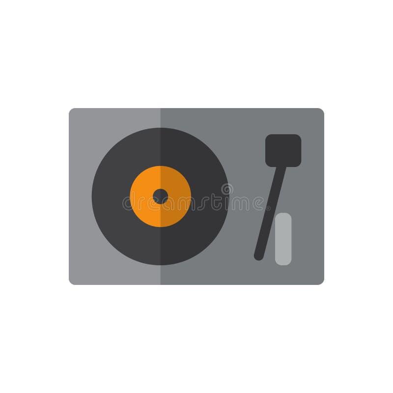 Turntable, winylowa dyska gracza płaska ikona, wypełniający wektoru znak, kolorowy piktogram odizolowywający na bielu royalty ilustracja