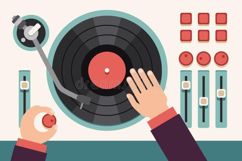 Turntable z dj rękami Nowożytnej muzyki pojęcia płaski wektorowy tło royalty ilustracja