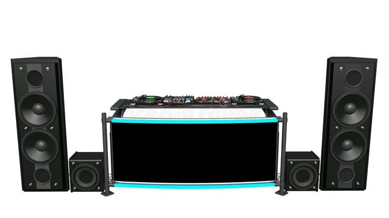 Turntables DJ с дикторами, ядровыми смесителями и оборудованием аудиозаписи, аппаратурами музыки диск-жокея изолированными на бел стоковое фото