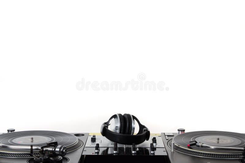 Turntables, headphones & sound mixer stock photos