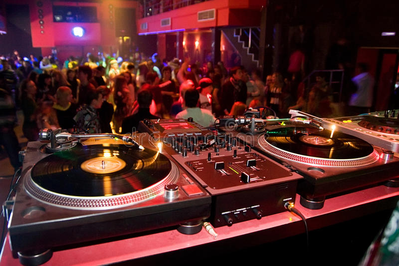 Turntables in the nightclub royalty free stock photography