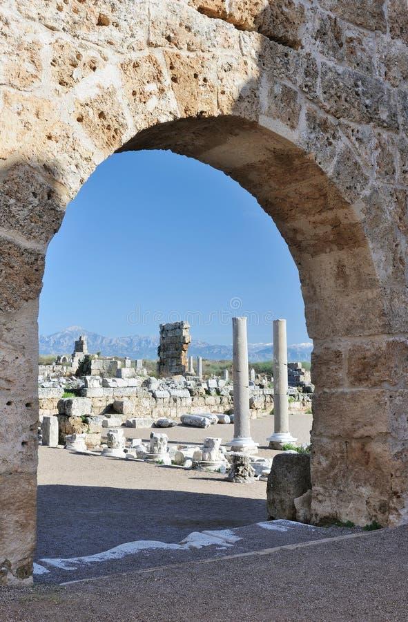 Turquía. Antalya. Ciudad Griego-Romana antigua de Perge fotografía de archivo libre de regalías