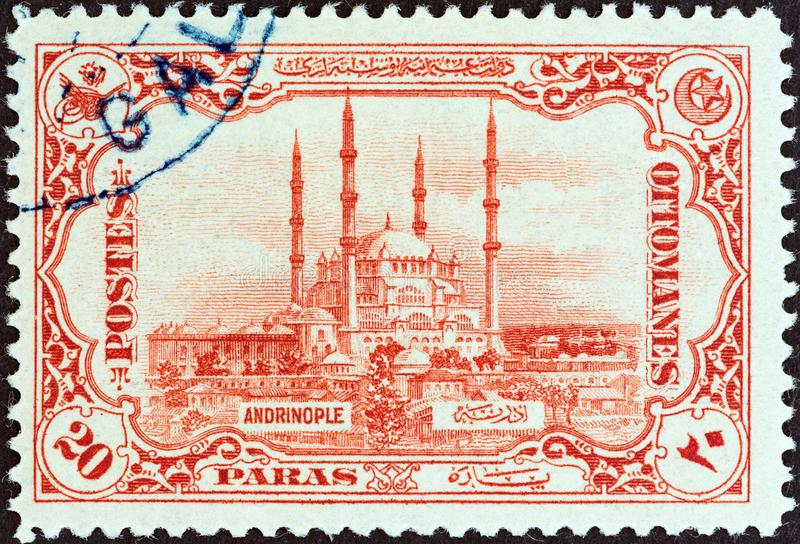 TURQUÍA - CIRCA 1913: Un sello impreso en la mezquita de Selimiye de las demostraciones de Turquía, Edirne, circa 1913 foto de archivo