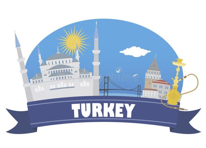Turquía con el foco en los prismáticos stock de ilustración