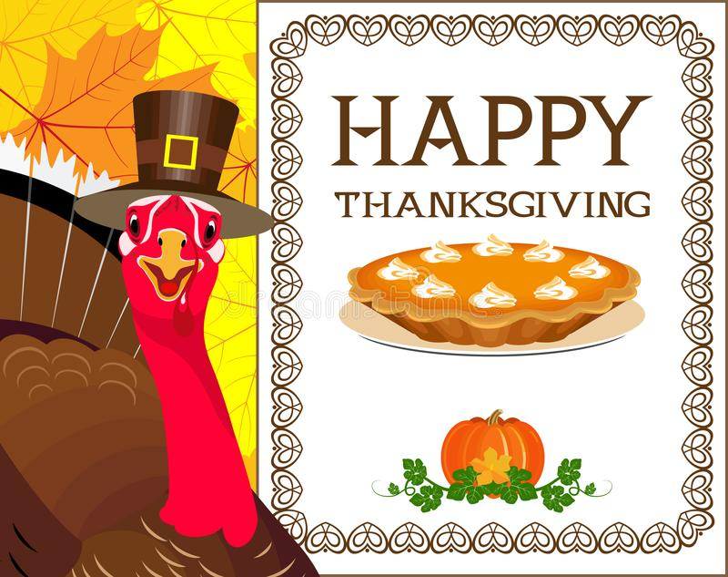 Turquía con el sombrero en el fondo de un letrero y de las hojas de otoño fotos de archivo libres de regalías