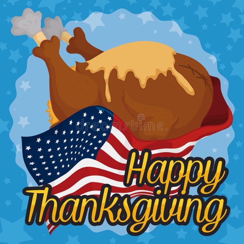 Turquía deliciosa para la cena de Thanksviging cubierta con la bandera americana, ejemplo del vector ilustración del vector