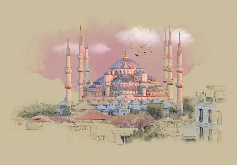 Turquía Estambul, gráficos en el papel viejo libre illustration