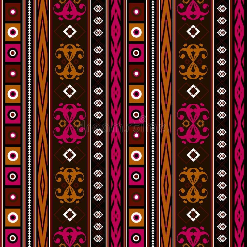 Turquesa étnica inconsútil de la textura del modelo, marrón, rojo, anaranjado en fondo brillante ilustración del vector