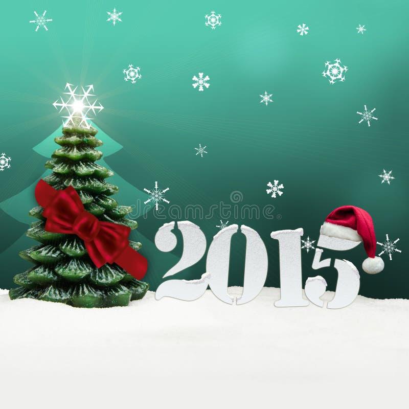 Turquesa 2015 do ano novo feliz de árvore de Natal ilustração do vetor