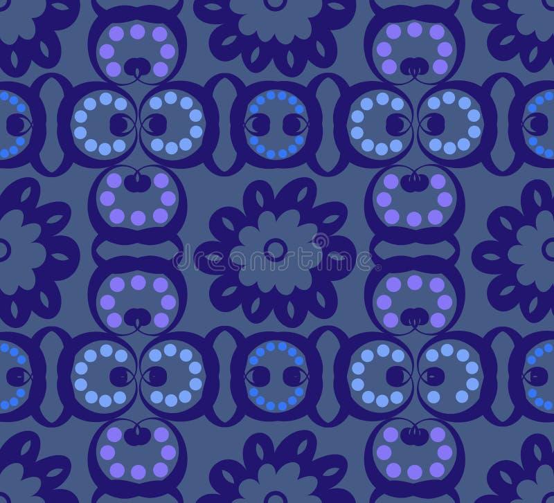 Turquesa e Paisley azul sem emenda ilustração stock