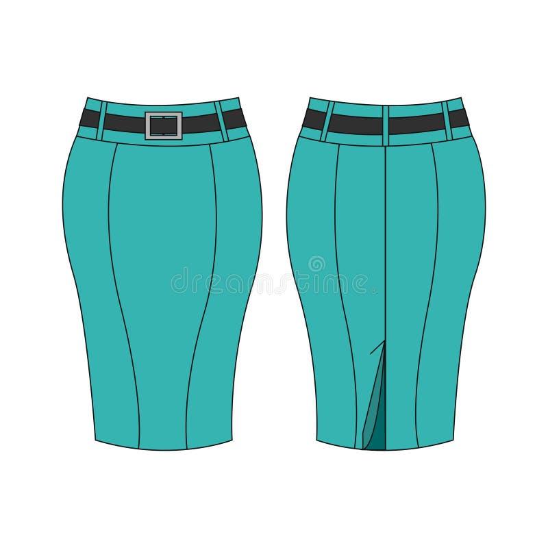 Turquesa/falda verde del lápiz aislada en el fondo blanco ilustración del vector