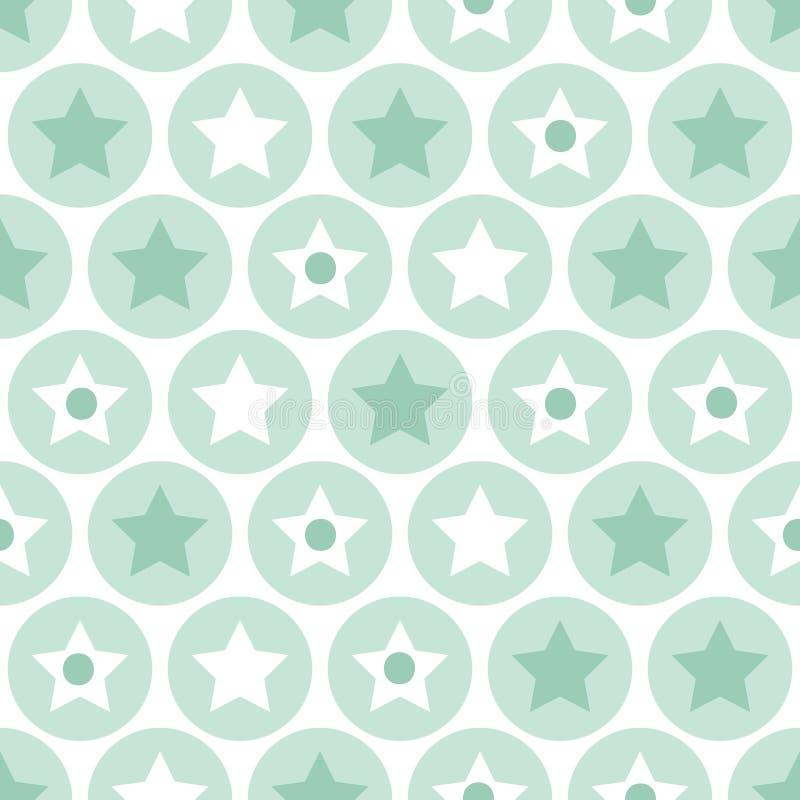 A turquesa geométrica das crianças circunda e stars a parte traseira sem emenda do teste padrão ilustração royalty free
