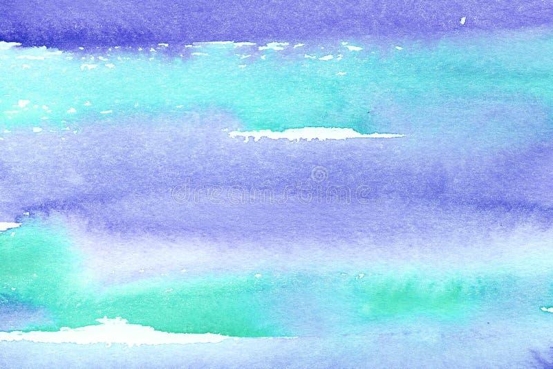 Turquesa mojada de la acuarela pintada a mano del extracto y fondo pelado azul con las manchas Lavado de la acuarela imagenes de archivo