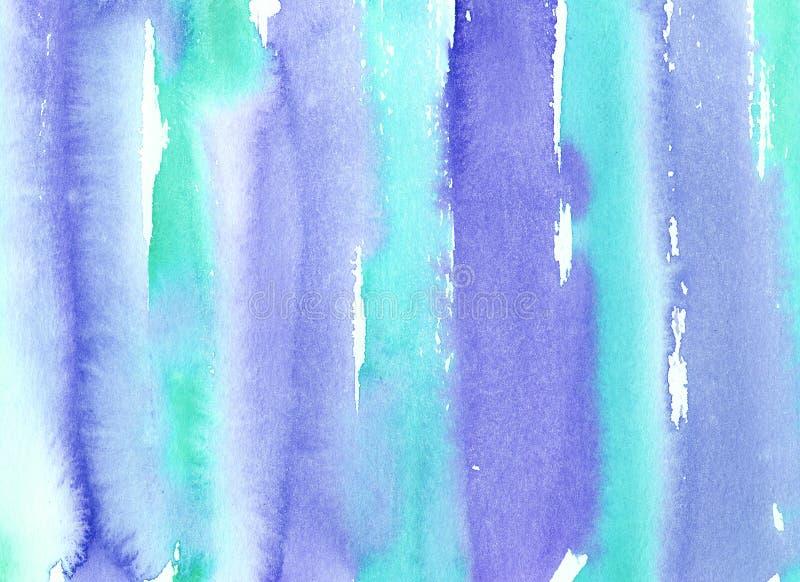 Turquesa mojada de la acuarela pintada a mano del extracto y fondo pelado azul con las manchas Lavado de la acuarela fotos de archivo libres de regalías
