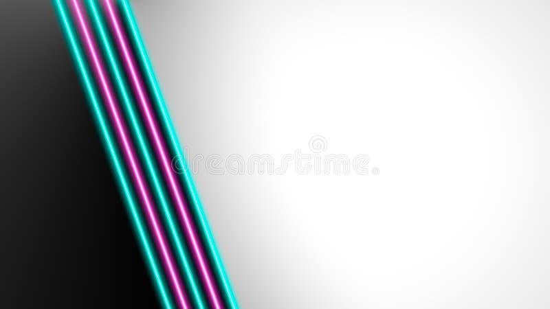Turquesa y luces de ne?n rosadas con las porciones de espacio de la copia para la exhibici?n del texto o del producto ilustración del vector