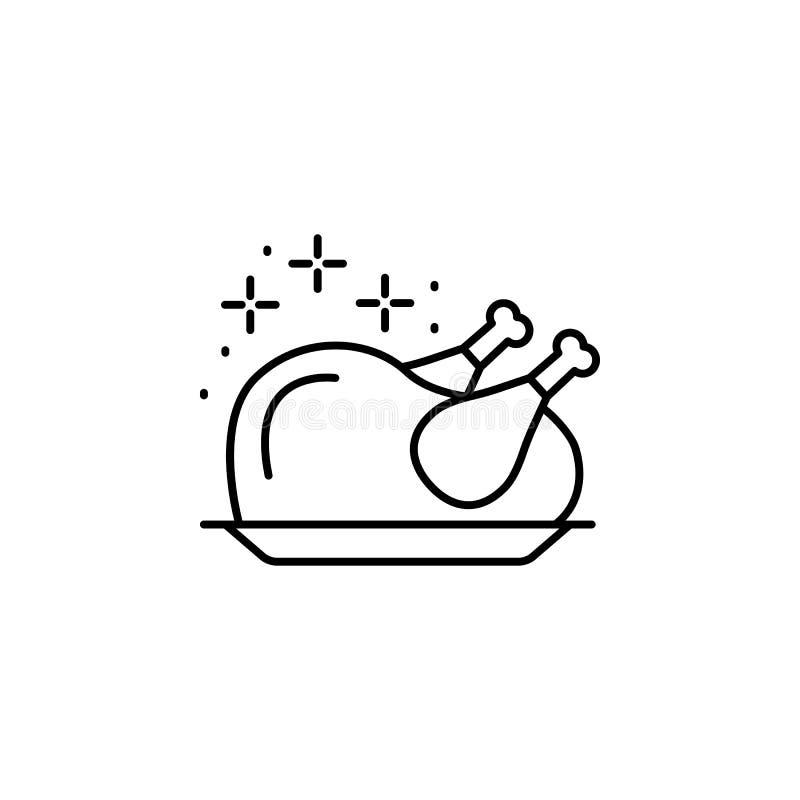 Turquia, ícone cozido Linha simples, vetor de contorno dos ícones do dia de Ação de Graças para ui e ux, site ou aplicativo móvel ilustração stock