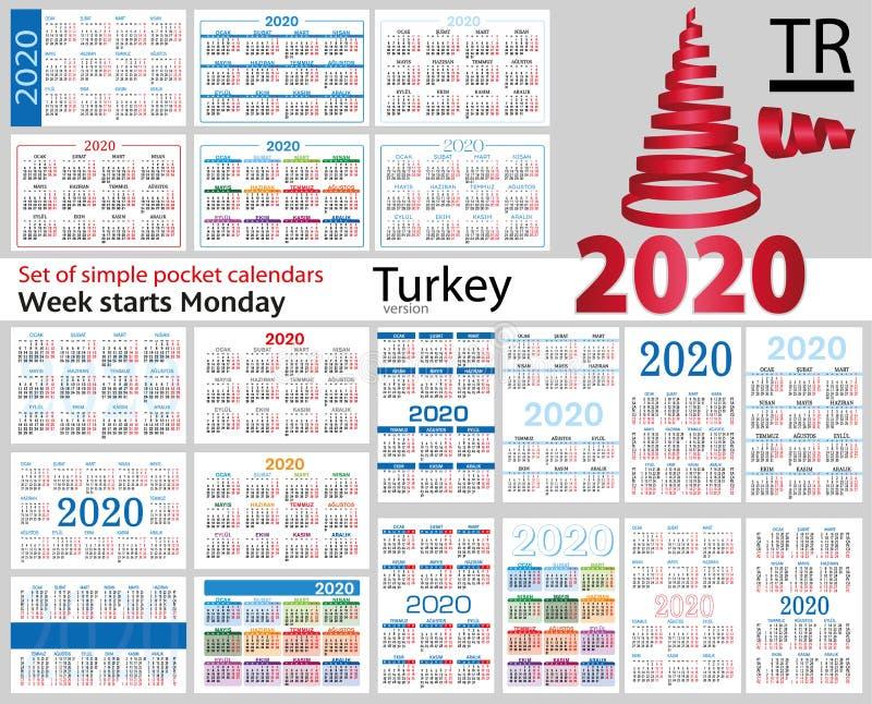 Turquia ajustou-se de calendários do bolso para 2020 ilustração royalty free