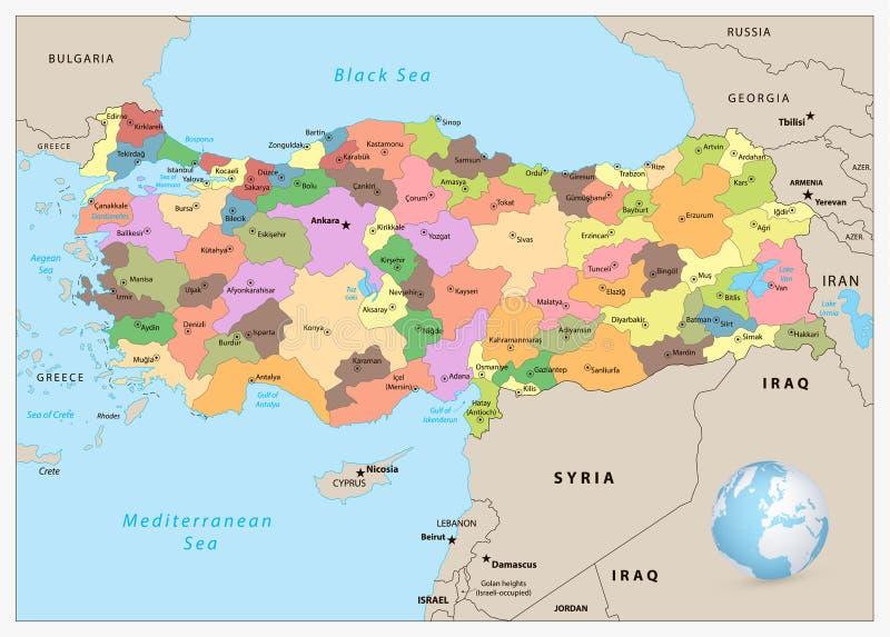 Turquia detalhou o mapa administrativo ilustração royalty free