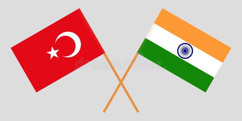 Turquia e Índia Bandeiras turcas e indianas Cores oficiais Proporção correta Vetor ilustração royalty free