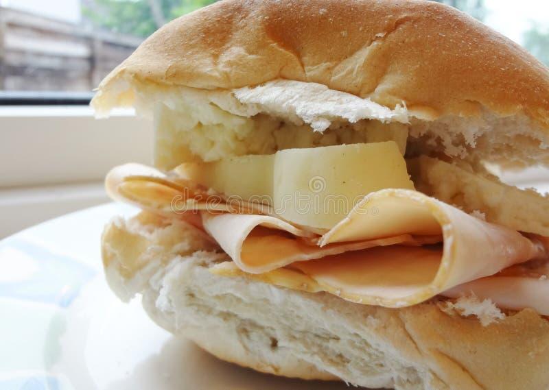 Turquia e queijo Roasted - panini italiano gourmet fotografia de stock