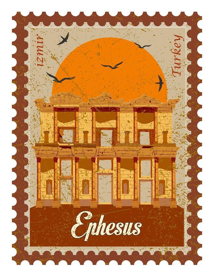 Turquia, Izmir, Selcuk Biblioteca de Celsus na cidade antiga de Ephesus, Turquia Ephesus ? um local do patrim?nio mundial do UNES ilustração stock
