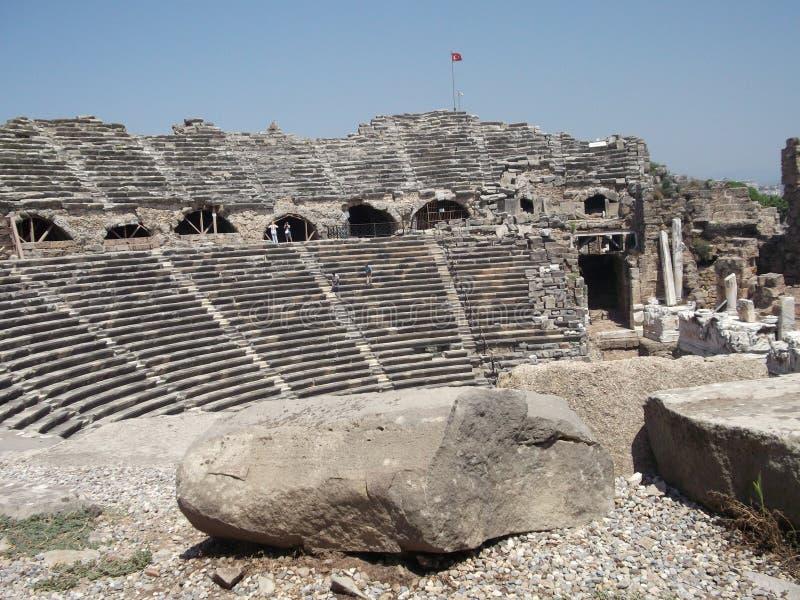 Turquia, lado, ruínas antigas foto de stock royalty free