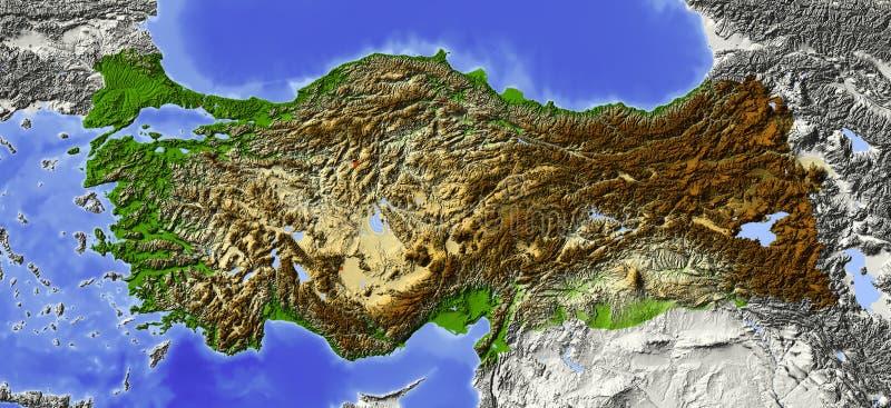 Turquia, mapa de relevo ilustração stock