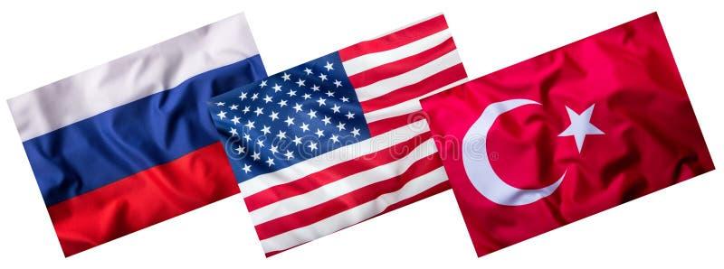 Turquia Rússia e bandeiras dos EUA isoladas no branco Colagem de bandeiras do mundo ilustração do vetor