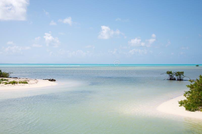 Turquise在Anegada海岛上的水视图 库存图片