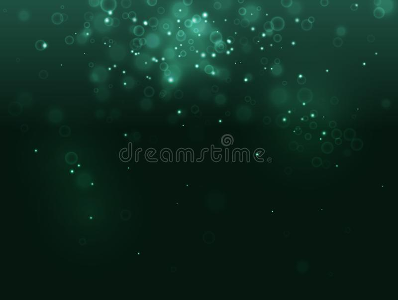 Turquoise abstract light biotechnology background and spark on black. Like bubble, microbe, cell, bacteria, immune vector illustration