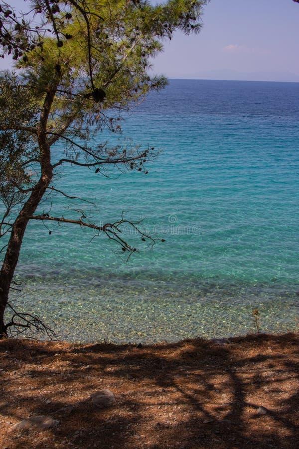 Turquoise Aegean sea stock photo