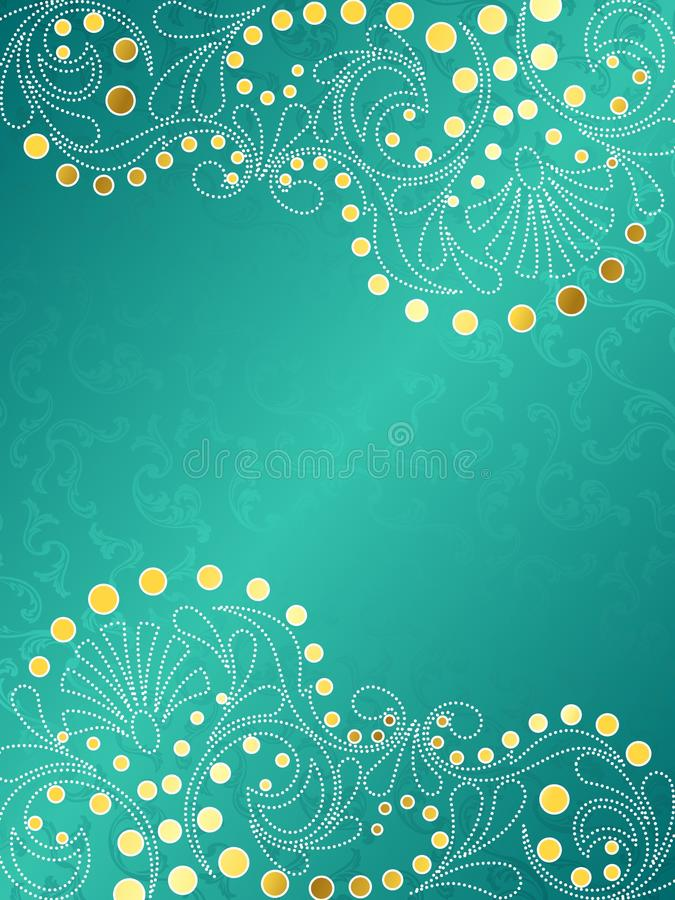 Turquoise background with delicate swirls, vertica vector illustration