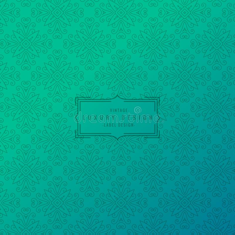 Turquoise background with ornamental pattern stock illustration