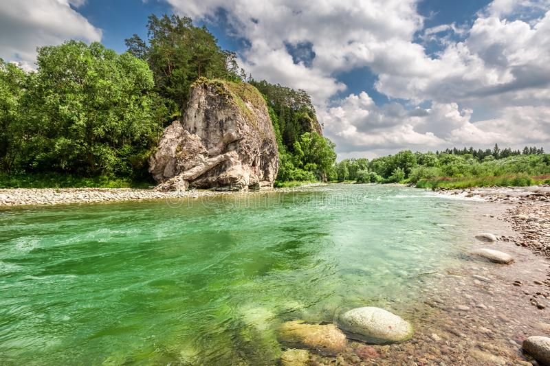 Turquoise Bialka River in the pieniny mountains in summer. Europe stock image