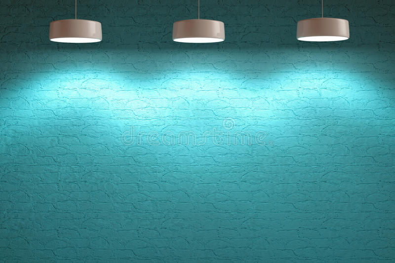 Turquoise blue interior stone wall with lamps royalty free illustration
