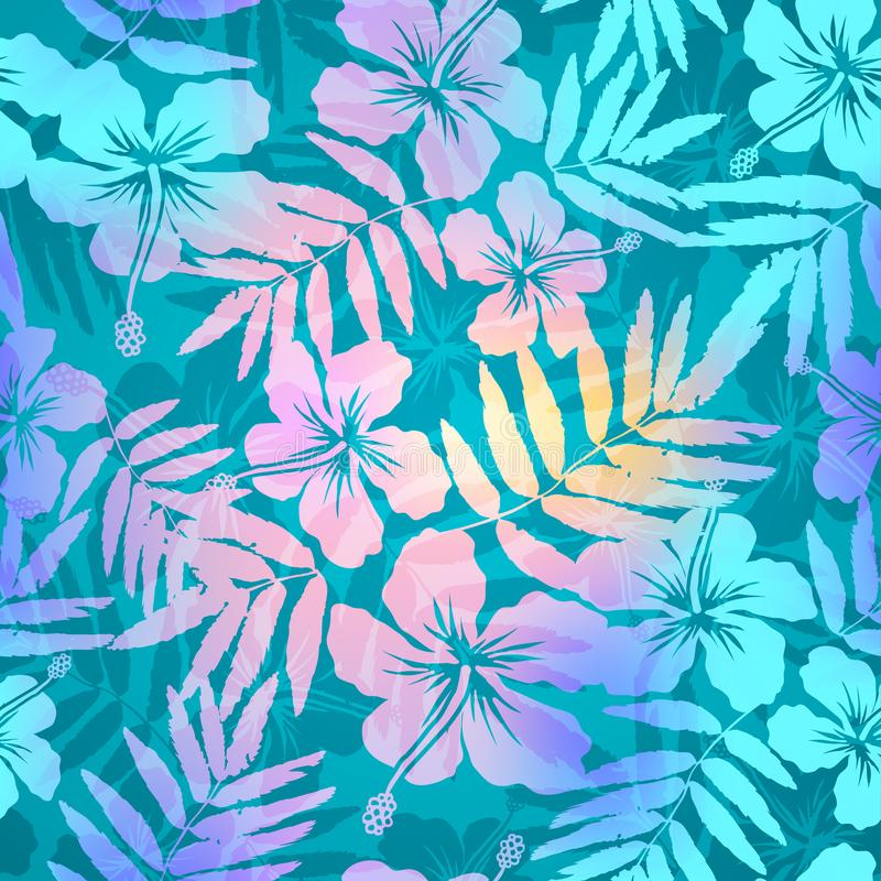 Turquoise blue and pink colors tropic flowers and leaves silhouettes vector seamless pattern vector illustration