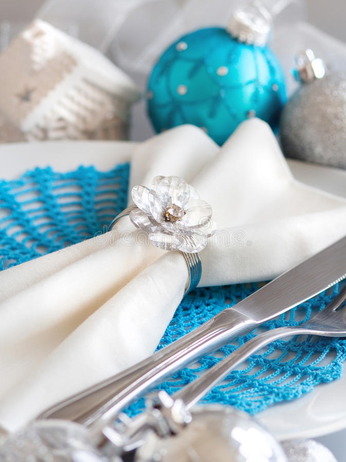 Download Turquoise Blue And Silver Christmas Table Setting Stock Photo - Image of noel setting & Turquoise Blue And Silver Christmas Table Setting Stock Photo ...