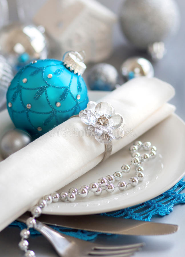 Download Turquoise Blue And Silver Christmas Table Setting Stock Photo - Image of ornament plate & Turquoise Blue And Silver Christmas Table Setting Stock Photo ...