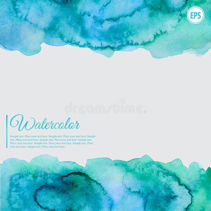 Turquoise and blue watercolor abstract frame stock photography