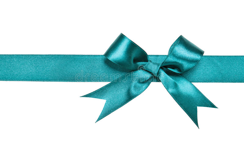 Turquoise bow isolated on white stock photo